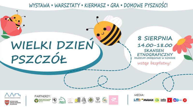 """plakat """"Wielki Dzień Pszczół"""" 8 Sierpnia 14.00-18.00"""
